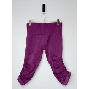 Lululemon In The Flow Crop Tights Purple with Logo